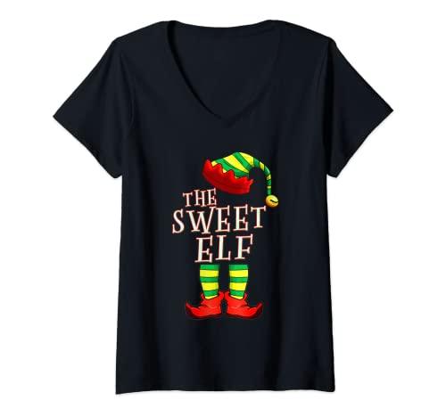 Mujer Pijama de Navidad para familia con diseo de Elf Squad PJ Camiseta Cuello V