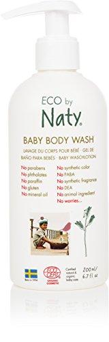 Eco by Naty, gel douche pour bébé, ingrédients bio d'origine végétale sans parfum, hypoallergénique et testé dermatologiquement, flacon de 200 ml