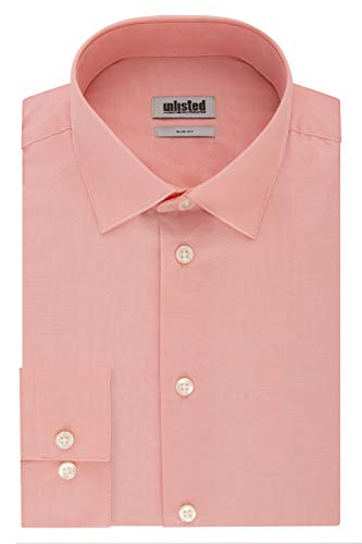 Kenneth Cole Unlisted Men's Dress Shirt Slim Fit Solid, Coral, 14'-14.5' Neck 32'-33' Sleeve (Small)