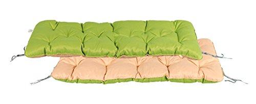 Meerweh 3er Bank ca. 150 x 50 x 10 cm Polsterauflage Bankauflage Auflage, grün/beige