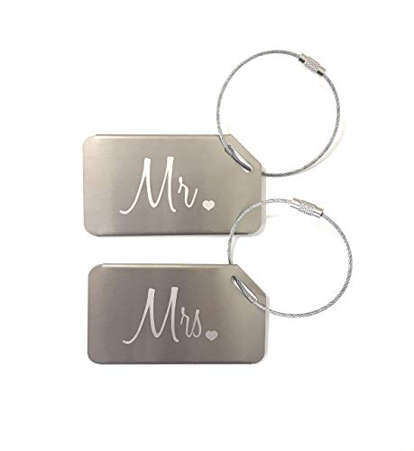 Markha Mr and Mrs Honeymoon Wedding Bridal Shower Gift Luggage Tag Travel Tags Silver (2 Pack)