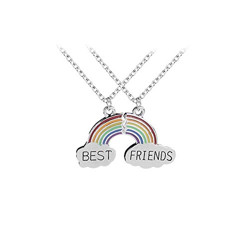 MJARTORIA Damen Mädchen Jungen Halskette Silber Farbe Essen Regenbogen Eule Schmuck Anhänger mit Gravur Freundschaftsketten 2 Stück (Regenbogen)