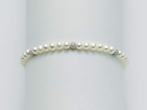 Miluna Bracciale perle inserti in oro bianco PBR836B