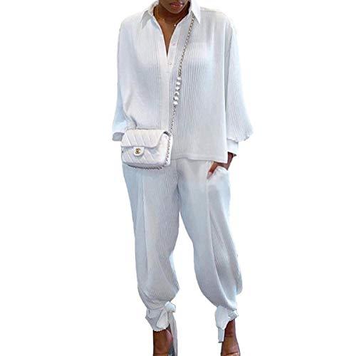 Siyova 2 Pezzi Completo da Donna Elegante Camicia a Maniche Lunghe con Risvolto a Coste Tinta Unita+Pantaloni Lunghi Abiti Donna Casual Autunnali Primaverili Tuta Leggero (Bianco, S)
