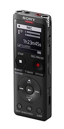 Sony ICD-UX570 Registratore Vocale Stereo, Display OLED, Riduzione Rumori Sottofondo, Altoparlante Integrato, Jack Cuffie e Microfono, Memoria 4 GB + Slot microSD, USB Integrato, Ricarica rapida, Nero