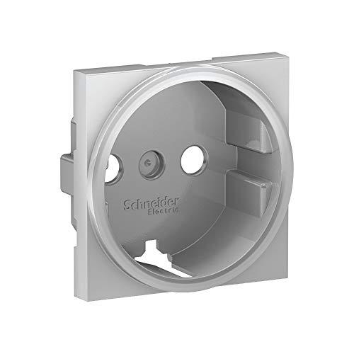 Tapa Schuko recambio Unica, 2P+T, color aluminio (Schneider Electric NU903730U)