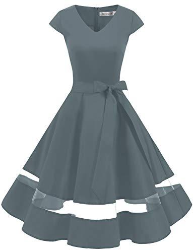 Gardenwed 1950er Vintage Retro Rockabilly Kleider Petticoat Faltenrock Cocktail Festliche Kleider Cap Sleeves Abendkleid Hochzeitkleid Grey S