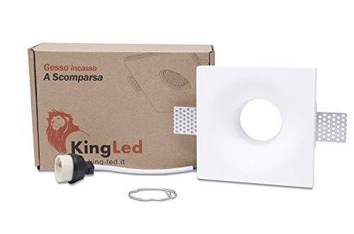 KingLed – Spot Encastrable en Plâtre Céramique Modèle conique arrondi pour Faux Plafond, pour LED GU10, Support de lampe GU10 inclus 120x120x42mm Code.1426