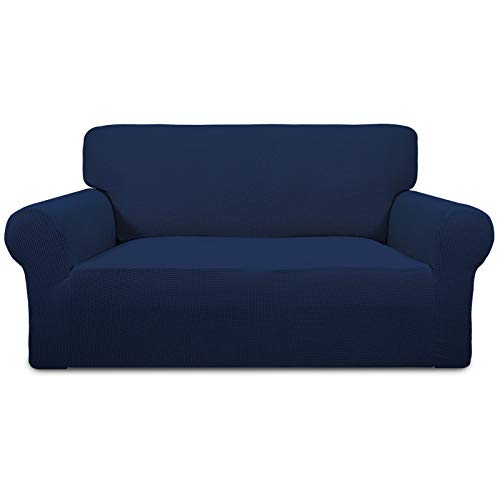 Easy-Going Stretch Loveseat Slipcover 1-Piece Sofa Cover Furniture Protector Couch Soft with Elastic Bottom for Kids Polyester Spandex Jacquard Fabric Small Checks(Loveseat, Navy)