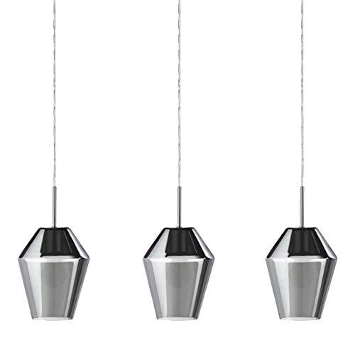 EGLO Lámpara colgante Murmillo, 3 focos, lámpara colgante de acero en cromo...