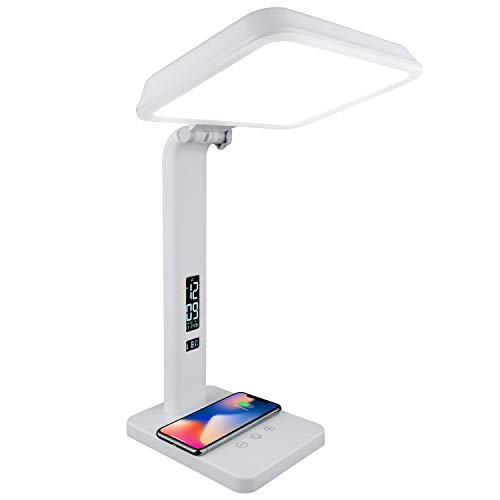 Theralite Aura Qi Light Therapy Sun Lamp - UV Free 10,000 LUX Light Therapy Lamp - Includes Alarm Clock, Phone Charger, USB Port