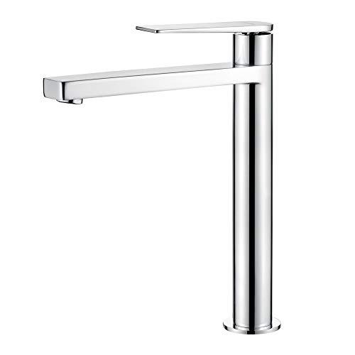 GRIFEMA G11101 Lyon - Grifo de lavabo alto, Mezclador Monomando para baño, Cromo, Plata [Exclusivo en Amazon]