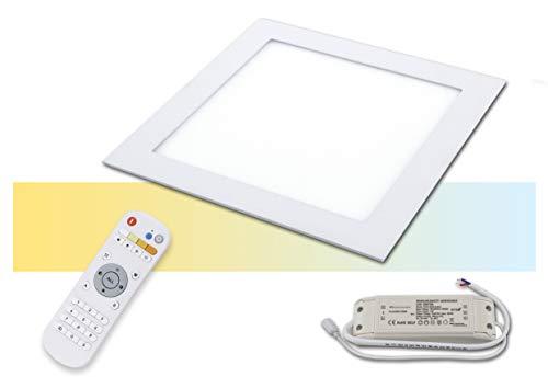 LED Panel Einbau farbdimmbar Einbauleuchten flach CCT mit Fernbedienung 20 Watt (1er plus FB)
