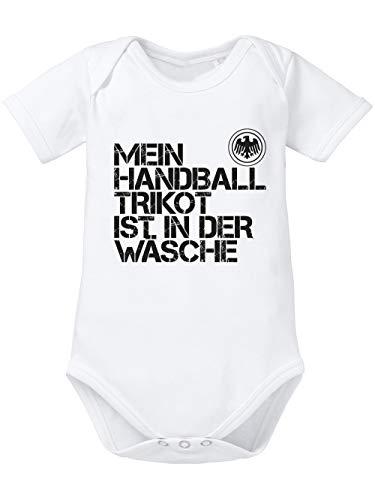 clothinx Baby-Body Bio EM 2020 Mein Handball Trikot ist in der Wäsche Weiß/Schwarz Größe 68