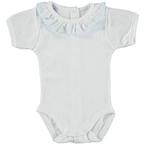 Babidu babidu Unisex Baby 1193 Body m/Corta Cuello Batista Taufbekleidung, Blau (Celeste 2), 12