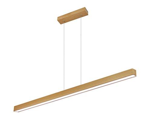 LED Hängeleuchte HausLeuchten LED120KB-3000K-BUCHE aus Holz 120cm 1998lm Esstischlampe Deckenlampe Deckenleuchte Pendelleuchte Esstisch Wohnzimmer Leuchte Lampe (BUCHE - Warmweißes Licht (3000 K))