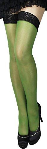 Halterlose Strümpfe 20 den leicht glänzend versch. Spitzenabschlüsse mit Silikon alle Farben und Größen für Braut Hochzeit (XXL, grün)