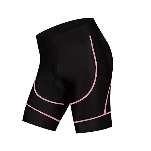 Yuelso Radhose Damen MTB Rennrad Shorts mit 4D Gel Padded atmungs Quick Dry Enge Bermuda Shorts Fahrrad (Color : Pink, Size : XL)