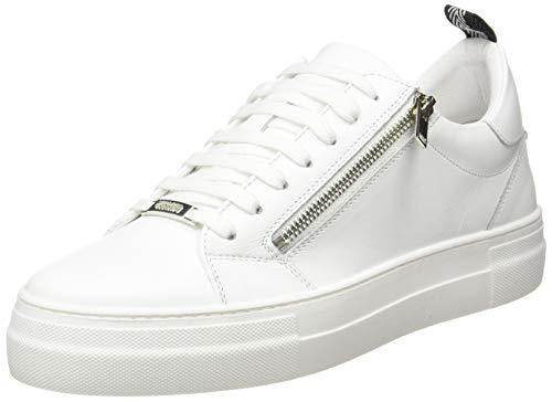 Antony Morato Sneaker Zipper in Pelle, Scarpe con Lacci Uomo, Bianco, 40 EU