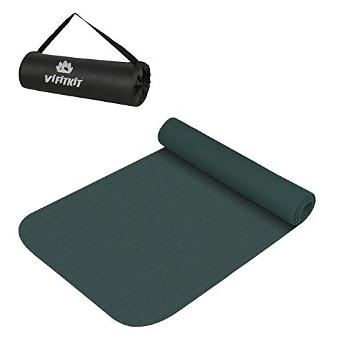 VIFITKIT Yoga & Exercise Mat for Gym Workout and Flooring Exercise Long Size 4 mm Yoga Mat for Men & Women (Made in India) (Bottle Green, 4mm)