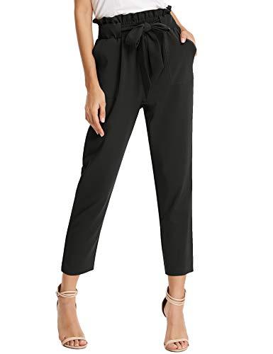 KANCY KOLE Women Slacks Paper Bag Pants Loose Elastic Waist Trouser Cropped Pants with Belt (Black,S)