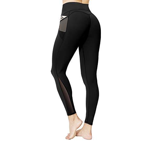 Pantalones de yoga con bolsillos, cintura alta, control de abdomen, estiramiento de gimnasio, entrenamiento para correr, medias deportivas de fitness para mujeres