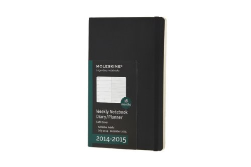 Moleskine 2014-2015 Weekly Planner, 18 Month, Large, Black, Soft Cover (5 x 8.25)