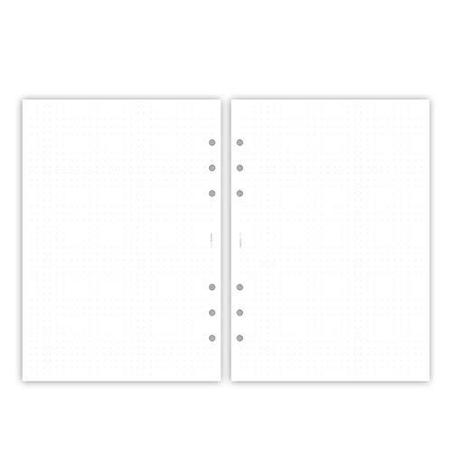 Einlagen für Organizer/Ringplaner – 30 Blatt | DIN A5, 6-fach Lochung, 120 g Premium Papier, gepunktet, dotted, dot grid, punktkariert (gepunktet – 30 Blatt)