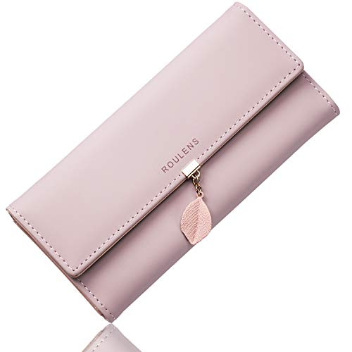 Portafoglio in pelle PU ROULENS per borsa con RFID lunga da donna con ciondolo foglia con...