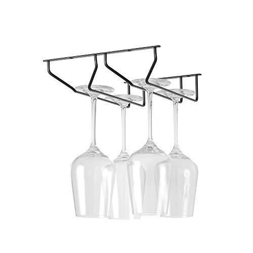 Wine Glass Holder, 304 Stainless Steel Wine Glass Rack Under Cabinet, Stemware Glasses Storage Rack Hange, Metal Organizer for Bar Home & Kitchen Décor, Flat Steel Design (2 Rows, 338mm)