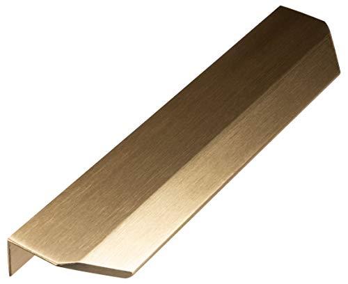 Gedotec Schrankgriff Messing Möbelgriff Küche Griffleiste Antik Gold-Optik gebürstet - Cyprus | Schubladen-Griff Vintage zum Schrauben | Küchengriff für Schranktüren | 1 Stück - Profilgriff BA 64 mm