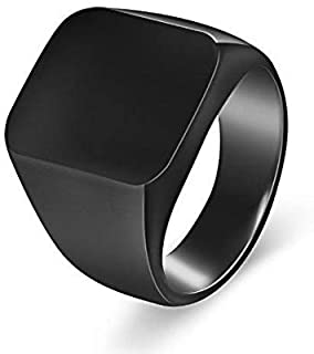 Men's ring polished shiny black Size 11