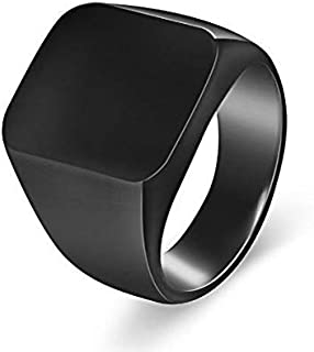 Men's ring polished shiny black Size 8