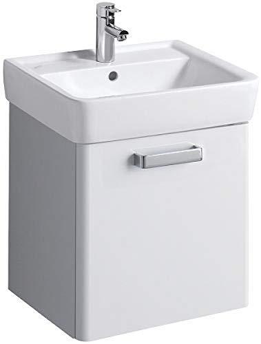 Keramag Waschbecken Unterschrank Renova Nr. 1 Plan, 48,5x46,3cm x40cm mit Auszug, Weiß/Weiß Hochglan