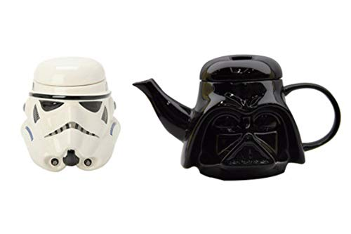 Lot de 2 tasses et tasses Star Wars 3D en céramique Noir Dark Vador Stormtrooper - 1black Teapot+1white Cup