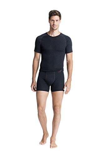 con-ta Thermo Kurze Hose mit Eingriff, Boxershorts für Herren, wärmende Thermounterwäsche mit natürlicher Baumwolle, Herrenbekleidung, schwarz Melange, Größe: 6