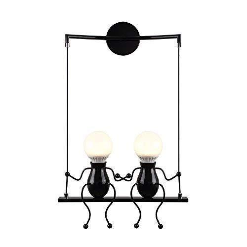Lámparas de pared Negro Small People Lámpara de pared de metal Creative Edison E27 Iron Art Sconce Linterna Sala de estar Dormitorio Cocina Deco Iluminación Iluminación