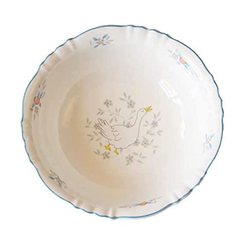 JSJJAHN Plato de Cena Dibujos Animados Cisne Placas de Desayuno Lindos Platos de cerámica Blanco Vajilla Nórdica Nórdica para niños Instale Tazas y Cuencos Placa para el hogar (Color : 6 Inch Bowl)