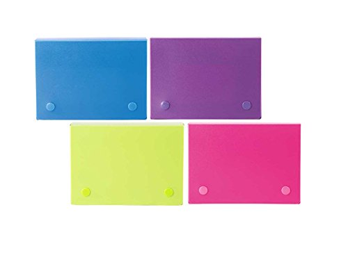 Filexec 4 x 6 Inch Index Case, Snap Button Closure, 5 Index Dividers, Assorted (Pack of 4) (50097-2026)