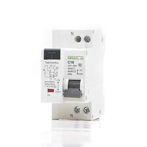 LUOXUEFEI Disyuntor Diferencial Interruptor Disyuntor De Corriente Residual 1P N Con Protección Contra Fugas De Corriente Corta Y Corta