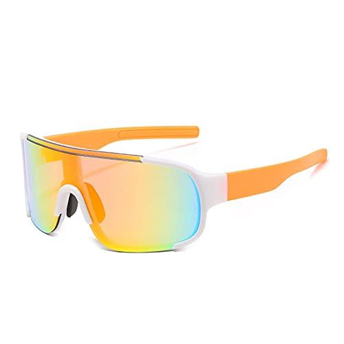 QWKLNRA Gafas De Sol para Hombre Marco Naranja Lente Naranja Gafas De Sol Deportivas Polarizadas Gafas De Sol De Montar A La Moda Gafas De Mujer Gafas De Hombre con Parte Superior Plana Mujer Windpr