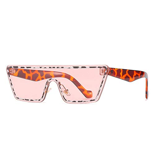 DLSM Fashionless One Piece Cat Eye Gafas de Sol Femenino Vintage Colorido Gradiente Gafas de Sol Tendencia Leopardo Adecuado para Montar a Caballo, Playa Party-Rosa Leopardo