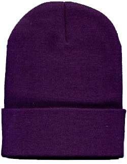 Short Knit Beanie Ski Cap Hat In Purple