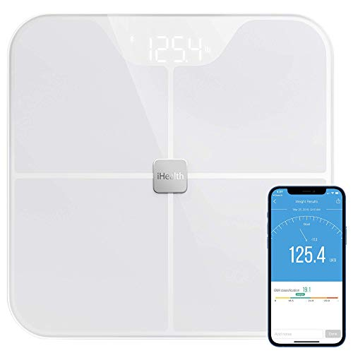 iHealth Nexus Body Fat Scale Smart BMI Scale Digital Bathroom Bluetooth Weight Scale, Body Composition Analyzer with Tempered Glass Platform, Large LED Backlit with Smartphone App, 400 lbs - White
