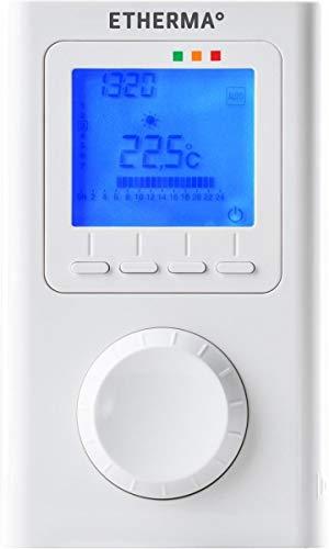 ETHERMA ET-14A, Elektronisches Funk-Raumthermostat mit Uhr, LCD-Anzeige, Farbe: reinweiß, Maße: 135 x 80 x 23 mm, ET-14A
