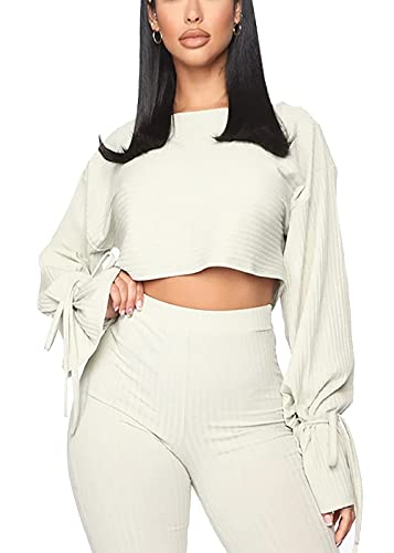 Solid Color Two Piece Outfits for Women,Long Sleeve Crop Top and Bodycon Pants Joggers Clubwear Tracksuit Sweatsuit (White, M)