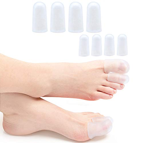 Sumiwish 8 Stücke Zehenschutz Silikon, Gel Zehenkappen, Premium Zehenschoner Zehenpolster Zehenpflaster gegen Blasenbildung und Schwielen