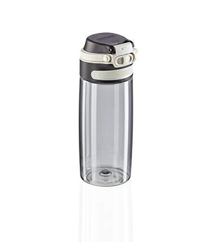 Leifheit Tritanflasche Flip 550ml, 100% dichte Sportflasche, Öffnen mit einer Hand, leichte und bruchsichere Trinkflasche mit Filter für Fruchteinsatz, nachhaltige Wasserflasche, BPA frei, silber