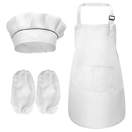Kinder Schürze Kochmütze und Ärmel Set, Verstellbare Weiß Kinderschürze Mädchen/Jungen mit Taschen, Ideal Kinderschürzen Kochschürze Kochmütze Kostüm für Küche Kochen Backen Malerei (4-13 Jahre)