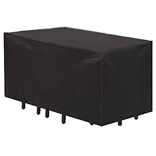 BAOFI 315x160x74cm Fundas de Muebles, Funda para Muebles de Jardin Impermeable, Cubierta para Patio rectángulo de Alta Temperatura Externa Protectora de Polvo Cubierta de Tabla Mesa Rectangular,Black